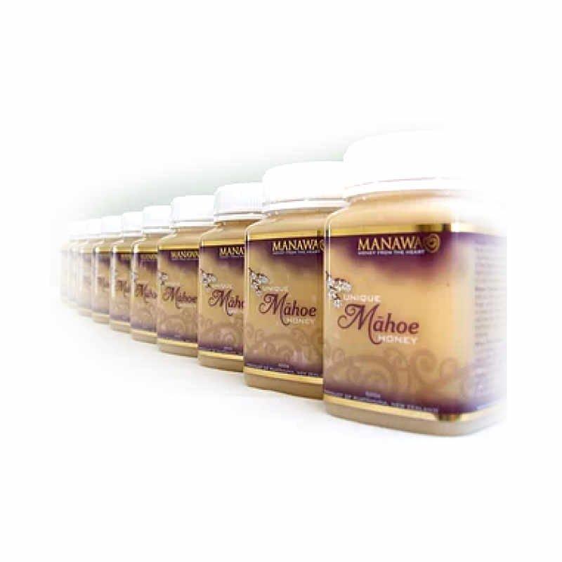 Jars Of Mahoe Honey Lined Up In Row By Manawa Honey NZ, Ruatahuna, Te Urewera, New Zealand