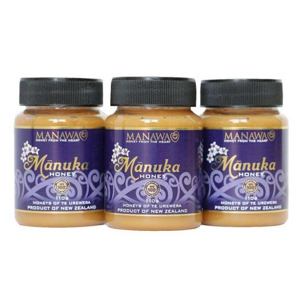 Mānuka Honey MG100+ 3 x 110g Jars By Manawa Honey NZ, Ruatāhuna, Te Urewera, New Zealand