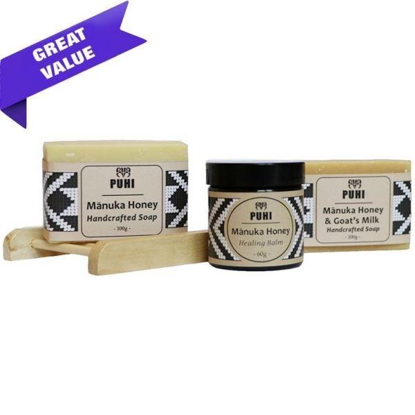 Manuka Honey Handcrafted Soaps and Manuka Honey Healing Balm in Skincare Gift Pack by PUHI Skincare by Manawa Honey NZ