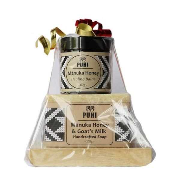 Mānuka Honey and Goat's Milk Handcrafted Soap With Mānuka Honey Healing Balm And Soap Rack In Christmas Gift By PUHI Skincare Of Manawa Honey NZ Of Ruatāhuna, Te Urewera, New Zealand