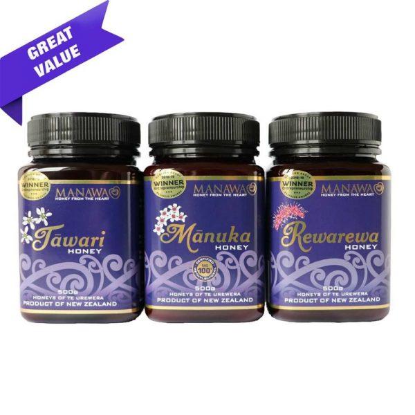Mānuka, Tāwari and Rewarewa Honey Bundle By Manawa Honey NZ 3 x 500g Jars For Honeys Of Te Urewera Range Marked As Great Value