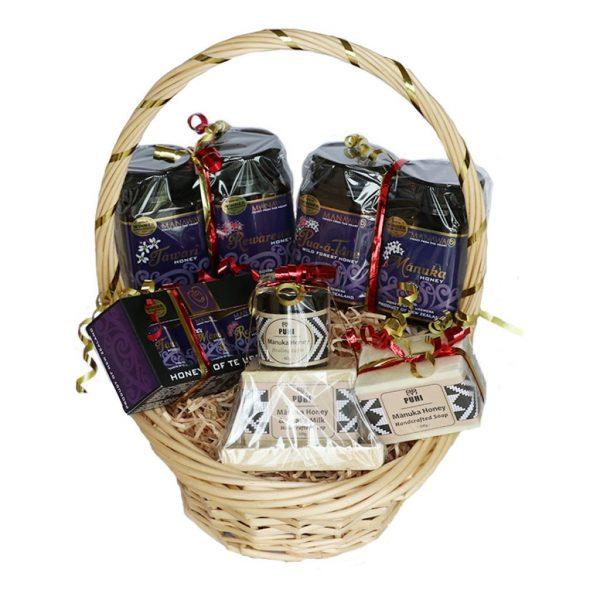 Manawa Honey NZ Christmas Gift Basket With Honey Gifts And PUHI Manuka Honey Skincare
