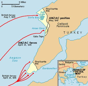Gallipoli Map Showing Invasion Tactics Of Allied Forces in World War One