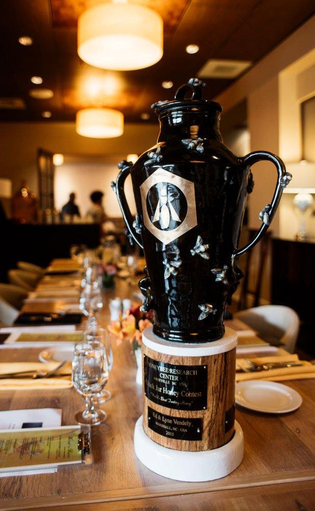 Trophy of 10th Black Jar International Honey Contest Won By Manawa Honey NZ, Ruatahuna, Te Urewera, New Zealand
